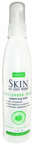 Skin By Ann Webb Mist, Cucumber Sage, 2 Fluid Ounce by Skin By Ann Webb. $6.69. Helps to calm the skin. For all skin types. Helps to soothe skin after shaving. Helps balance oil production. Refreshes tired skin. A gentle mist with cucumber to calm the skin and arnica to help balance oil production.