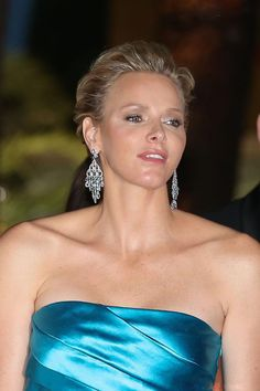 Princess Charlene of Monaco dazzling before the 65th ballroom of the Red Cross at the Monte Carlo Sporting Club in Monaco on 2 Aug 2013