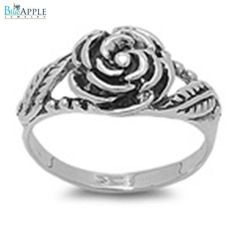 Gorgeous Rose Flower Romantic Promise Girl's Ring Solid 925 Sterling Silver Plain Simple 3mm Band Girl's Ring Size 4-16