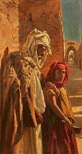 Peinture d'Algérie - Peintre Espagnol, Daniel CORTES PEREZ (1873-1919), Huile sur toile ramouflée sur carton , Titre: Les mendiants .