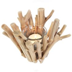 Wholesale Set of 2 driftwood tealight holders - Something Different