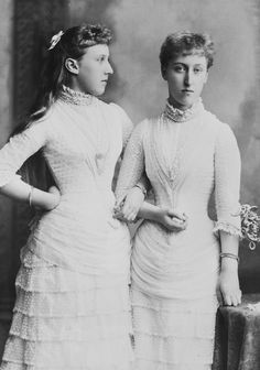 Helena Victoria and Marie Louise of Schleswig-Holstein, daughters of Princess Helena as bridesmaids for their Aunt Beatrice.