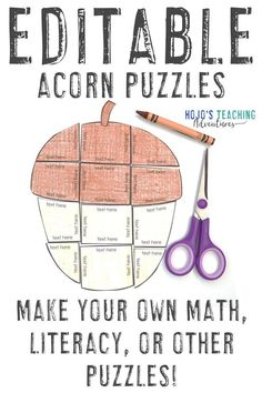 Bring plenty of acorn fun into your homeschool or classroom this fall using these two EDITABLE puzzles. They work great for 1st, 2nd, 3rd, 4th, 5th, 6th, 7th, or 8th grade kids. Create your own activities on math, literacy, foreign language, or any other topic that fits on the puzzles. Click through to learn more and grab your own copy today! (Year 1, Year 2, Year 3, Year 4, Year 5, Year 6, Year 7, Year 8) #Fall #HoJoTeaches #Acorns 3rd Grade Classroom, A Classroom, Year 7, Acorn, Games For Kids, Fun Activities, Literacy, Homeschool, Bring It On