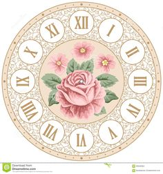 Illustration about Vintage clock face with hand drawn colorful roses and curly design elements. Shabby Chic Vector, Clock Face Printable, Shabby Chic Clock, Rose Clock, Clock Craft, Fancy Watches, Decoupage Printables, Colorful Roses, Craft Stick Crafts