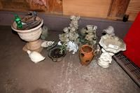 Assortment of Concrete Lawn Figurines, Planters, and Bird Bath
