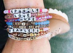 Positivity bracelets l motivational inspirational quotes handmade waterproof bracelet - kandi bracelets Pony Bead Bracelets, Kandi Bracelets, Summer Bracelets, Cute Bracelets, Ankle Bracelets, Friendship Bracelets, String Bracelets, Cute Jewelry, Jewelry Crafts