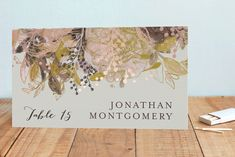 """""""Floral Feast"""" - Foil-pressed Place Cards in Rose Gold by Phrosne Ras. Plum Wedding Invitations, Montgomery, Place Cards, Rose Gold, Floral, Flowers, Flower"""