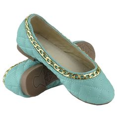 Girls Ballet Flats Quilted Gold Accent Chain Slip On Comfort Shoes Teal Size Girls Ballet Flats, Ballet Kids, Gold Accents, Comfortable Shoes, Heeled Mules, Teal, Slip On, Chain, Fashion