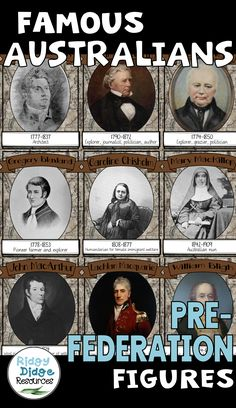 These high quality posters (40 in total) have been designed to compliment the HASS curriculum in Australia. The posters feature the name of 40 key individuals who helped shape our nation in the 1800s, their date of birth and death and their contribution or significant role in Australian history. These individuals include, politicians, pastoralists, bushrangers, aboriginals, explorers, activists, writers, poets, cricketers, industrialists and more.
