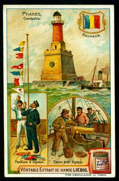 I like how these ads show different ports-of-call. I think they're trying to say that their product was being used worldwide, or maybe there were different ads for different countries. Vintage Cards, Vintage Postcards, Vintage Stuff, History Of Romania, Lighthouse Pictures, Ship Paintings, Van Gogh Art, Boat Art, Art Deco Posters