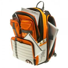 Star Wars Official Rebel backpack with internal padded laptop sleeve. Dimensions: 18.5 x 13 x 6 inches, orange black and grey.