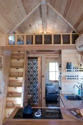 01 Clever Loft Stair Design for Tiny House Ideas Tiny House Loft, D House, House Stairs, Tiny House Plans, Tiny House Design, Save For House, Build Your House, Low Ceiling Bedroom, Loft Staircase