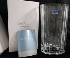 """8.5"""" Marquis by Waterford Oval Heavy Fine Crystal Ribbed Vase New in Box #156027 #MarquisbyWaterford"""