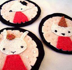 Felt Animal Ornaments, Trio Handmade Hand-stitched Holiday Decor, Ready to Ship, $39