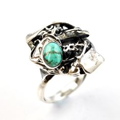 Upcycled Silver Turquoise Ring by AlexAirey, www.alexairey.com