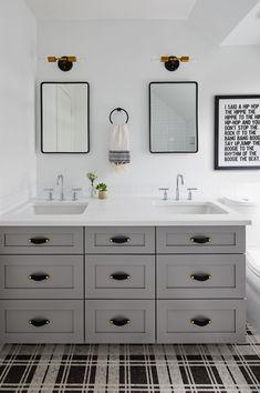 Boys Bathroom Design, Plaid Floor Tile, Grey Bathroom Design, Chicago Interior Designer, Top Design by Jen Talbot Design Teenage Girl Bathrooms, Teen Boy Bathroom, Master Bathroom, Teenage Bathroom Ideas, Dyi Bathroom, Washroom, Design Bathroom, Basement Bathroom, Bathroom Inspo