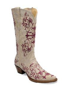 Womens Bone/Metallic Wine Floral Cross Embroidery Boot - (a truly beautiful boot). Cowgirl Boots, Western Boots, Cowgirl Baby, Western Chic, Cowgirl Style, Western Wear, Boot Scootin Boogie, Fleet Feet, Wedding Boots