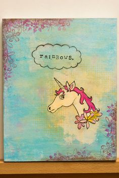 T.A.C.O. Tuesday | Feelings... and other fluffy things - Mixed Media Art by Fury Gray #TACOTuesday #mixedmedia #art #unicorns #artchallenge #rainbows #sarcasm #paint #artbyfury