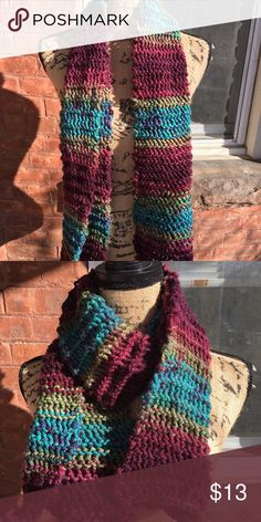 Hand Knitted Scarf ❤ Blend of burgundy, blue, green & purple. Made with 100% soft, acrylic yarn. New. Handmade. Accessories Scarves & Wraps