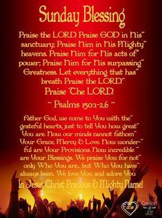 Wednesday Prayer, Sunday Prayer, Blessed Sunday, Sunday Morning Quotes, Happy Sunday Quotes, Morning Prayers, Praise The Lords, Praise God, Sunday Bible Verse