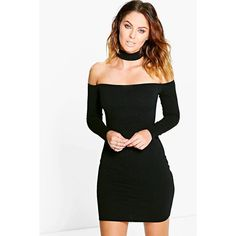 724bd4f14018 Boohoo Night Carley Choker Off Shoulder Bodycon Dress ($26) ❤ liked on Polyvore  featuring