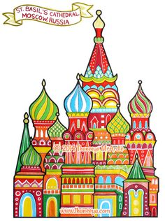 St Basil's Cathedral Coloring Page Art from Thaneeya McArdle's World Traveler Coloring Book - http://www.amazon.com/gp/product/157421960X/ref=as_li_tl?ie=UTF8&camp=1789&creative=390957&creativeASIN=157421960X&linkCode=as2&tag=arisfu-20&linkId=K7P7ZCLXRSMCILKG