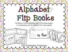 Alphabet Flip Books 31 Books to Practice Letter Recognition & Beginning Sounds from The Printable Princess on TeachersNotebook.com (37 pages)  - Alphabet Flip Books to teach letter recognition and beginning sounds. 31 flip books in all (21 consonants and 10 vowels)