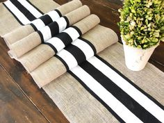 Obsessed with rustic chic decor. Love the black and white with the burlap! Burlap table runner wedding table runner with black and white French stripes, rustic chic table decor , handmade in the USA. Burlap Crafts, Burlap Projects, Lace Runner, Striped Wedding, Wedding White, Burlap Table Runners, Deco Table, Decoration Table, Black Decor