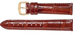 Mens 18mm Regular Cognac Genuine Louisiana Alligator Watch Strap -- Read more  at the image link.