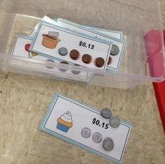 Work Box Task Ideas - The Autism Helper Work Box Task Ideas - The Autism Helper The Autism Helper. Great for the older kids learning how to count money. Money Activities, Autism Activities, Classroom Activities, Sorting Activities, Reading Activities, Life Skills Classroom, Autism Classroom, Classroom Setup, Vocational Tasks