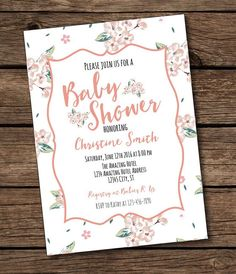 Floral Baby Shower Invitation Printable  by BashDesigns15 on Etsy
