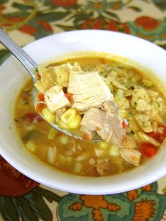 Chicken Tortilla Soup Recipe ~ really delicious... It's even great reheated!