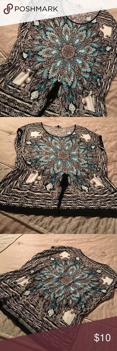 1x ladies top 95% polyester and 5% spandex for a silky feel.  This top gathers at the waist. And has a scoop neck.  Great condition!  Smoke free home. Tops Blouses