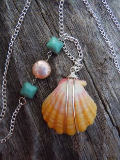 Sunrise Shell & Turquoise Necklace, Wire Wrapped Jewelry Handmade, Sterling Silver Sunrise Shell Pendant, Long Necklace, Hawaii Pendant