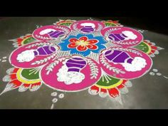 Beautiful pongal pot rangoli//easy free hand rangoli design//pongal special rangoli design - YouTube Rangoli Designs Latest, Rangoli Kolam Designs, Rangoli Ideas, Rangoli Designs Images, Kolam Rangoli, Free Hand Rangoli Design, Small Rangoli Design, Colorful Rangoli Designs, Alpona Design