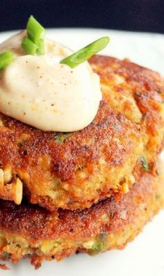 Creole Salmon Cakes...with hot mayo.   ** We doubled and added an egg 11/10/17 MSW