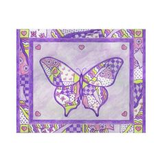 Purple home decor is absolutely adorable no matter if you like pale purple, lavender, lilac, magenta or violet purple home decor.  A purple themed home is easy to achieve by using purple wall art, purple throw pillows, purple throw blankets and purple area rugs.  Use this along with other purple wall art to create a relaxing, funky home decor theme #purple  Purple Butterfly Canvas Art Print
