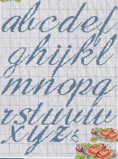 Ângela Bordados: alfabeto Cross Stitch Letters, Cross Stitch For Kids, Cross Stitching, Cross Stitch Embroidery, Abc Letra, Plastic Canvas Letters, Crochet Chart, Lettering Design, Stitch Patterns