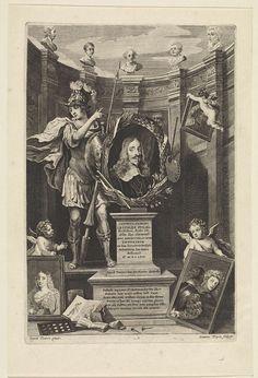 Jan van Troyen   Portret van aartshertog Leopold Willem van Oostenrijk als kunstverzamelaar, Jan van Troyen, David Teniers (II), landvoogd der Zuidelijke Nederlanden Leopold Willem, 1658   Portret van Leopold Willem, aartshertog van Oostenrijk en landvoogd van de Zuidelijke Nederlanden, in een ovale lijst met zijn motto, op een piëdestal met een opdracht aan hem in het Latijn. Naast zijn portret staat Minerva als beschermster van de kunsten. Naast het piëdestal schilderijen uit de collectie…