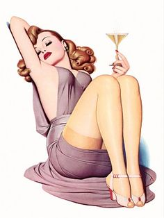 NEW Retro Pinup Girl Redhead Drinking Champagne Vintage Poster Wall Art Decor from Old School Ragz. Saved to Vintage Pin Up Girls. Pin Up Vintage, Vintage Modern, Vintage Glamour, Vintage Art, Pinup Art, Pin Up Posters, Girl Posters, Michelle Torr, Pin Up Girls