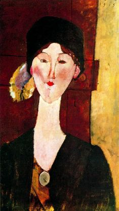 Portrait of Beatrice Hastings before a door  by Amedeo Modigliani