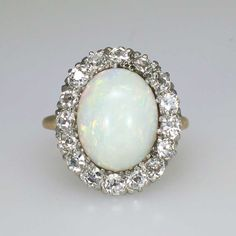 Gorgeous 2.30ct t.w. Huge Art Deco Opal & Old European Cut Diamond Ring 18k/Platinum | Antique & Estate Jewelry | Jewelry Finds