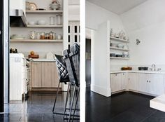 black floor, white washed cabinetry, white walls