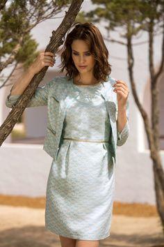 jurk bijpassend jasje goud turkoois feest receptie communie jacky o marie méro lente zomer 2015