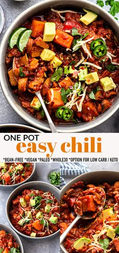 This easy Vegan Chili makes a hearty and comforting dish that is perfect for a chilly fall or winter day, game day or any time of the year! This bean free and paleo chili is easy to make with butternut squash, mushrooms and bell peppers and will become a family favorite! Naturally gluten-free, grain-free, Whole30 and can easily be made low carb and keto. Freezer-friendly and works great for meal prep! #chili #vegan #whole30 #paleo #onepot #veganchili #lowcarb Bean Recipes, Chef Recipes, Paleo Recipes, Soup Recipes, Yummy Recipes, Yummy Food, Italian Dinner Recipes, Quick Dinner Recipes, Weeknight Recipes