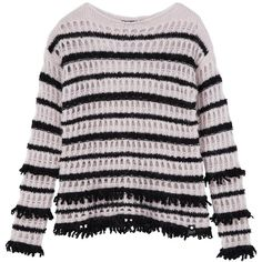 Karl Lagerfeld Dana Striped Sweater ($125) ❤ liked on Polyvore featuring tops, sweaters, textured knit sweater, striped knit sweater, karl lagerfeld, striped top and open knit top