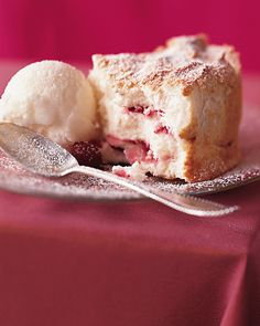 Angel Food Swirl Cake - This featherweight, sweet cake is offset by a tart sorbet.