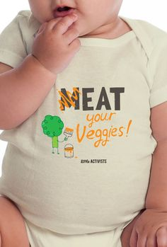 M-eat Your Veggies – Little Activists The planet provides so much delicious food for us in the form of vegetables and fruit. Help the environment, animals and yourself by eating fresh, clean food. Your body – and the planet – will thank you!  Designed for maximum comfort, fit and environmental sustainability, your infant will adore this soft, American made onesie. And snap closure makes changing a breeze.
