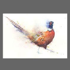 JEN BUCKLEY Original PHEASANT  Watercolour PAINTING signed large A3