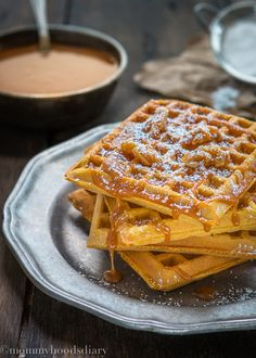 Egg Free Pumpkin Waffles with Salted Caramel Sauce - Mommyhood's Diary. They are going to be the perfect addition to your fall breakfast (or brunch) table… pretty looking and ridiculously delicious!